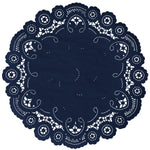 "Space blue color paper doilies available in the delicate French lace style and in sizes ranging from 4"" to 12"""