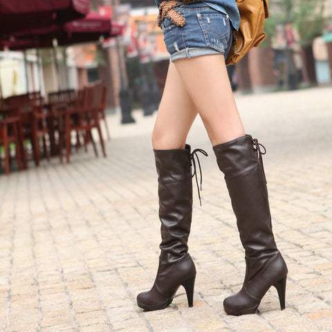 Back Lace Up High Heels Knee High Boots Spike Heel 2742