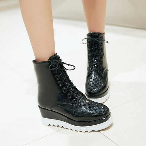 Lace Up Wedges Boots Women Platform Shoes New Arrival