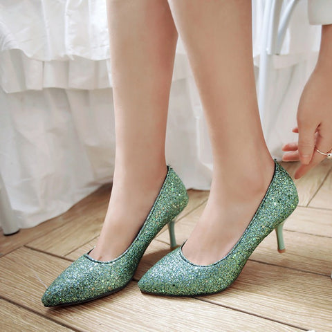 Pointed Toe Glitter Stiletto Heel High Heels Wedding Shoes 9578