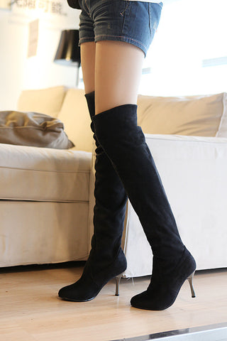 Artificial Suede Women Thigh High Boots High Heels Stiletto Heel Shoes Woman 3351