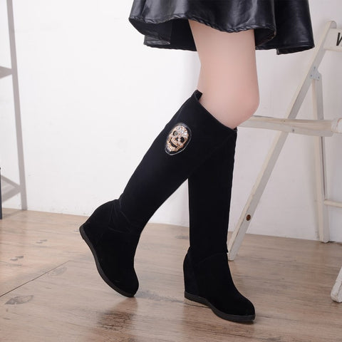 Black Faux Suede Skull Decoration Wedge Tall Boots 2861