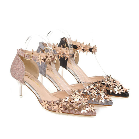 Sexy Party Pumps High-heeled Bridal Shoes Woman Flower Sandals