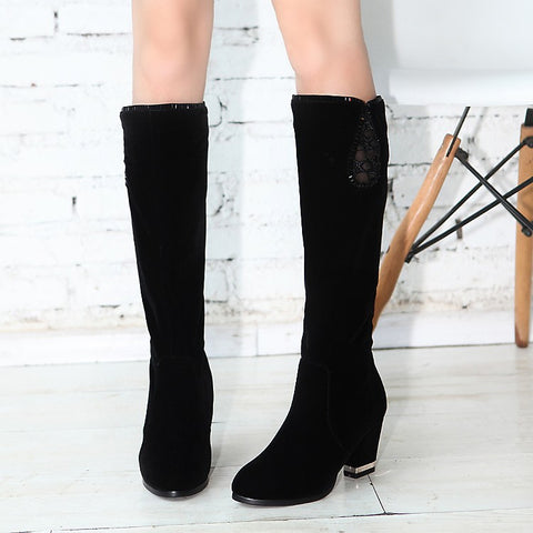 Black Knee High Boots Artificial Suede Rhinestone High Heels Shoes Woman 3323