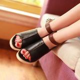 Gladiator Sandals Flats Height Increasing Women Peep Toe Shoes Woman 3587