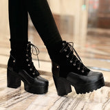 Lace Up Motorcycle Boots Platform Patchwork High Heels Women Shoes