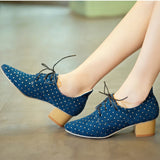 Women Pumps Rhinestone Thick Heel Lace Up Pointed Toe Shoes Woman 3423