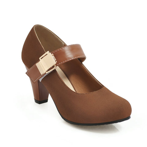 Round Toe Mary Janes Mid Heeled Shoes for Women
