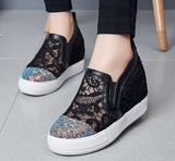 Sequined Women Wedges Cutout Platform Shoes