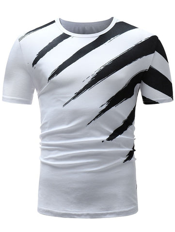 Color Block Paint Print Men Short Sleeve T-shirt 6490