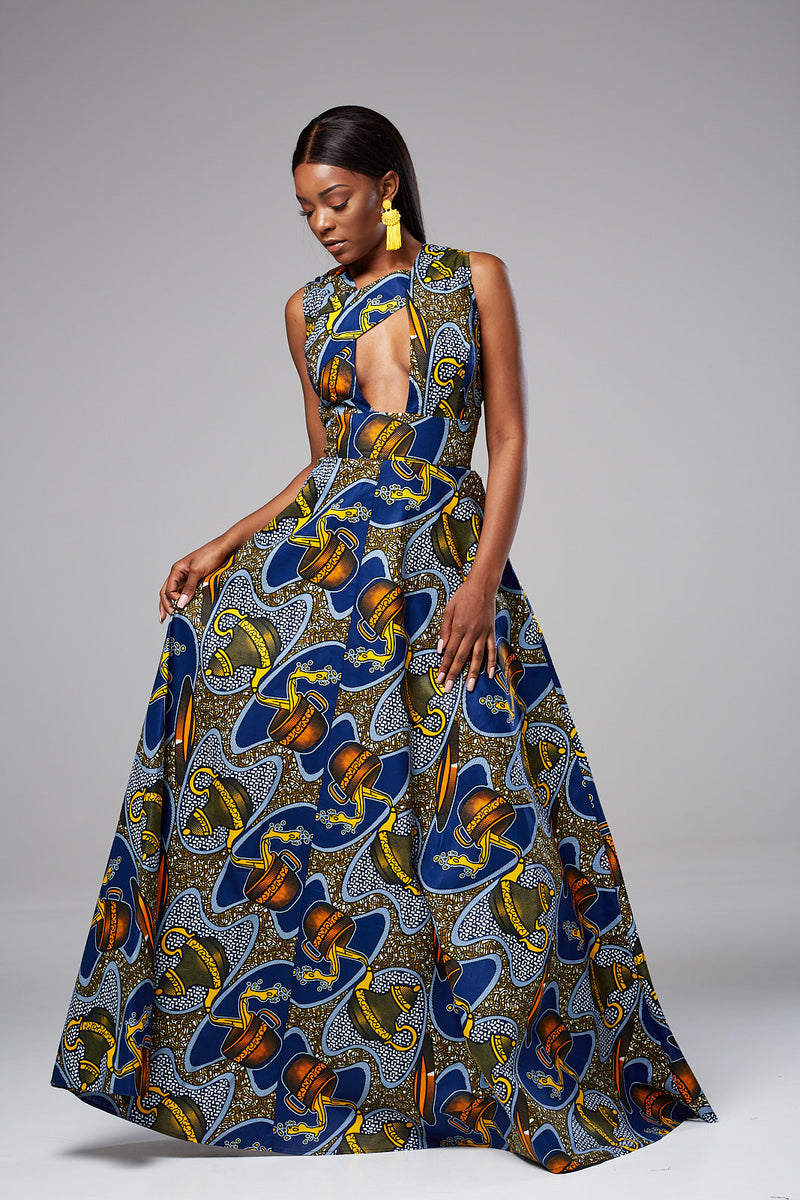 African Print Sleeveless CutOut Front Maxi Dress - Cynthia