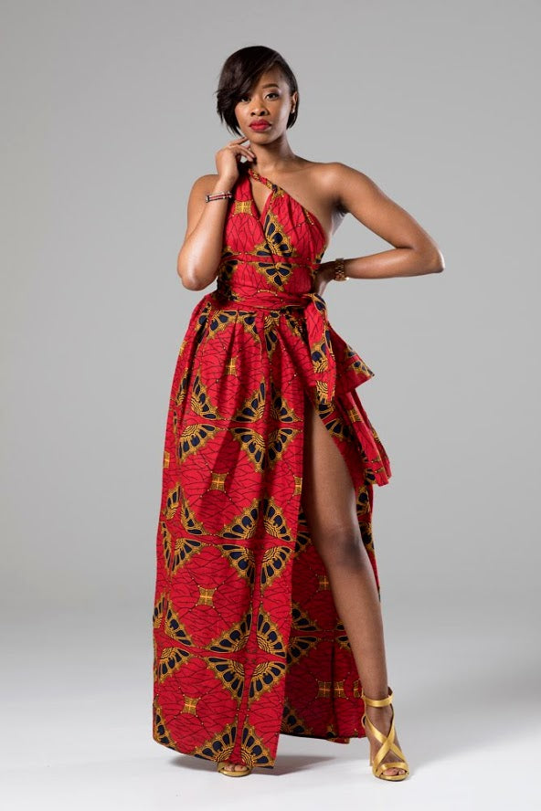 African Print Red Multiway Infinity Maxi Dress - Cordelia