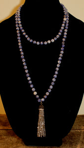 Sodalite Beads & Crystal Tassel Necklace