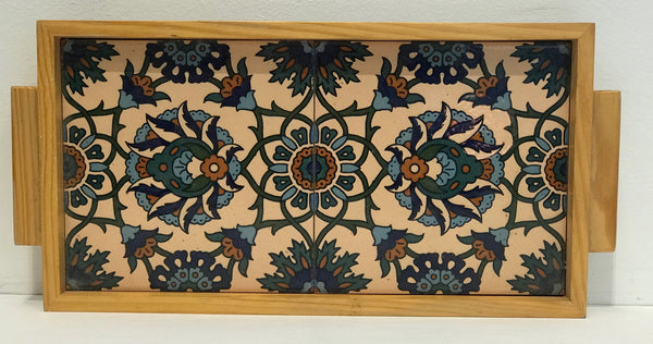 Tray two-tiled ceramic and wood
