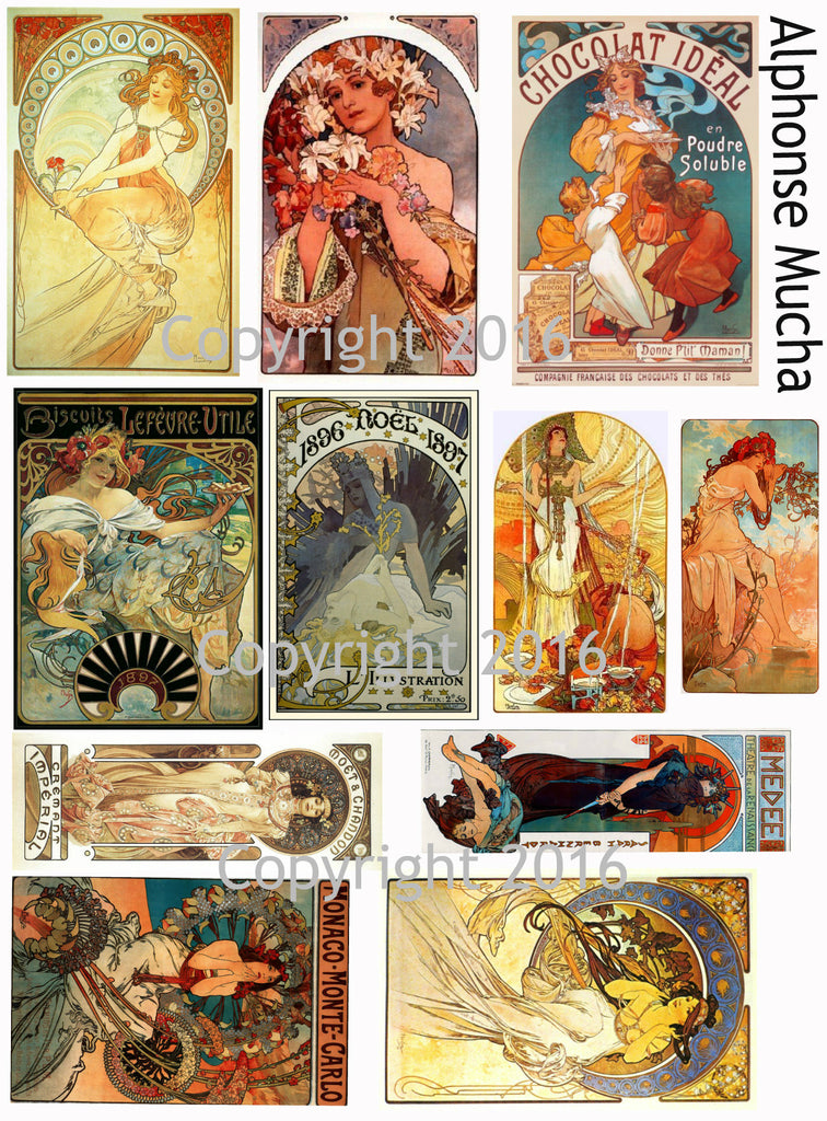 Alphonse Mucha Art Images Collage Sheet #102