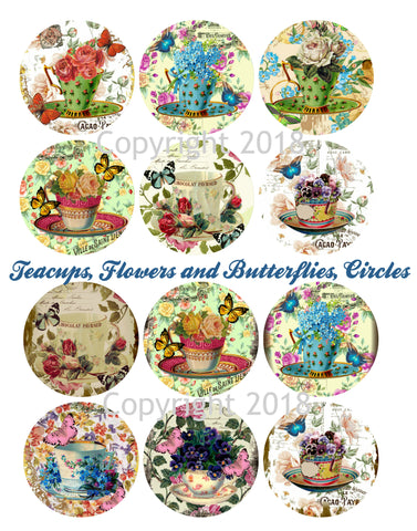 "2"" Circle Tea Cups Collage Sheet Printed Collage Sheet,  Weddings, Decoupage, Card Making,  Scrapbook, Altered Art, Victorian Images"