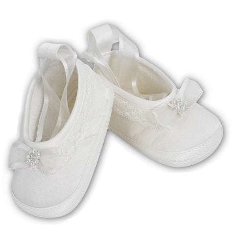 Sarah Louise Baby White Satin Shoes 4408 | Kizzies