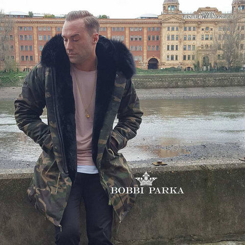Calum Best Mens Camo Faux Fur Collar Parka Jacket with Faux Fur 3/4
