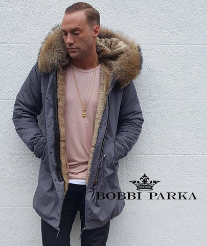 Calum Best Mens Faux Fur Collar Grey Parka with Natural Faux Fur Lining 3/4