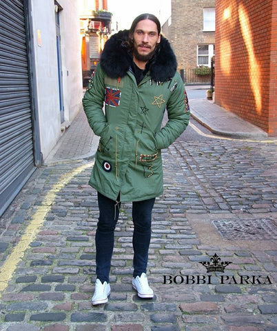 Calum Best Mens Embroidered Faux Fur Collar Green Parka Jacket 3/4