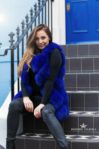 Full Fox Fur Vest / Gilet - Electric Blue