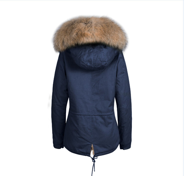 Kids Faux Fur Collar Parka Jacket with Natural Faux Fur -  - 6