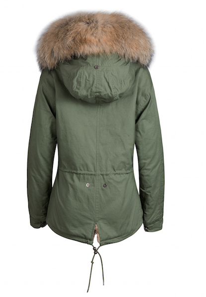 Kids Faux Fur Collar Parka Jacket with Natural Faux Fur -  - 3