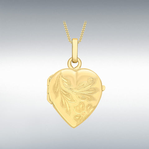 9CT YELLOW GOLD ENGRAVED FLOWER HEART LOCKET