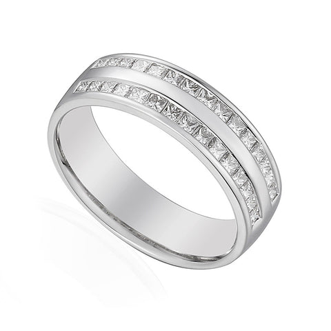 Wide band double row princess cut diamond wedding band-Plain Wedding Band-Design Centre Jewellery