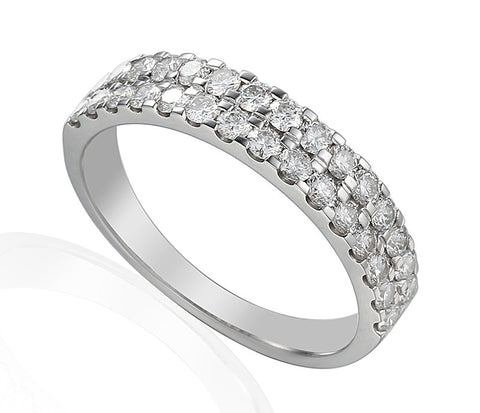 DOUBLE ROW CLAW SET ETERNITY OR WEDDING RING-Plain Wedding Band-Design Centre Jewellery