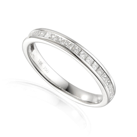 CHANNEL SET PRINCESS CUT DIAMOND ETERNITY OR WEDDING RING-Plain Wedding Band-Design Centre Jewellery