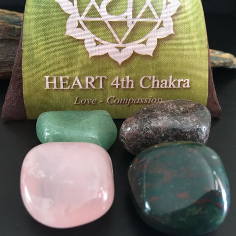 CHAKRA KIT Crystal Balancing Set - 4th HEART - Crystal Rock Emporium