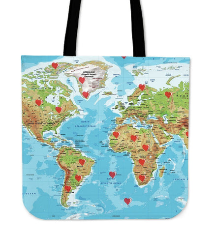 Valentine's Day Special World Map Tote Bags- Free Shipping