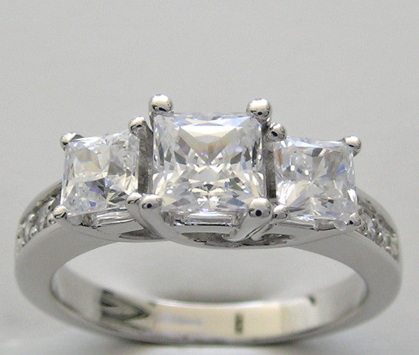 Three Stone Ring Setting for Princess Cut Diamonds Diamond Accents