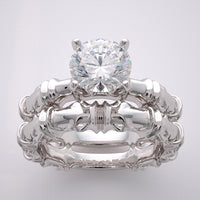 BAMBOO DESIGN BRIDAL MARRIAGE RING SETTING SET GOLD