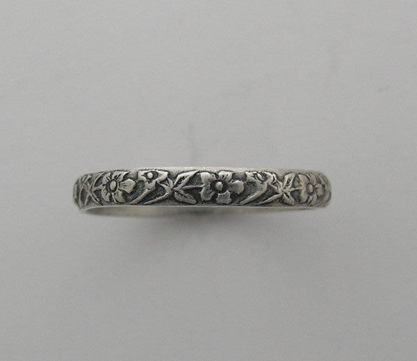 WEDDING RING 14K GOLD ANTIQUE VINTAGE FEMININE FLORAL ENGRAVING