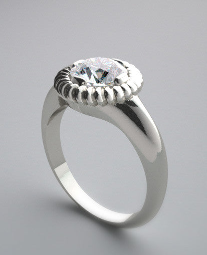 FLUSH BEZEL DESIGN ENGAGEMENT RING SETTING FOR ROUND A STONE
