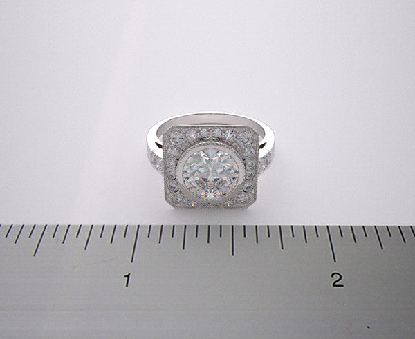 GOLD PLATINUM ENGAGEMENT RING SETTING WITH DIAMOND ACCENTS