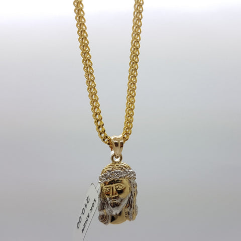10k Yellow Gold Franco Chain Amen Necklace