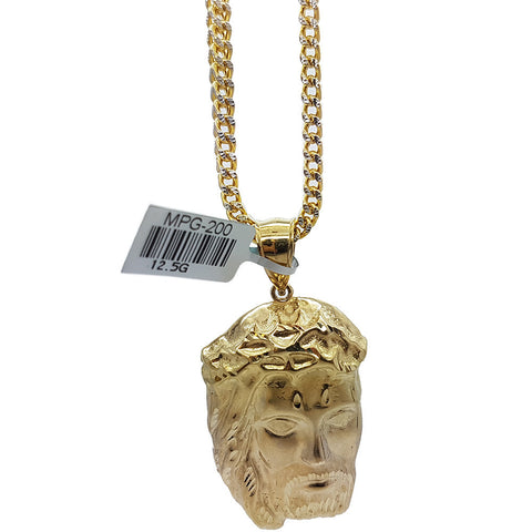 10K Real Yellow Gold Franco Chain & Jesus Heads Gold Christiano Pendant