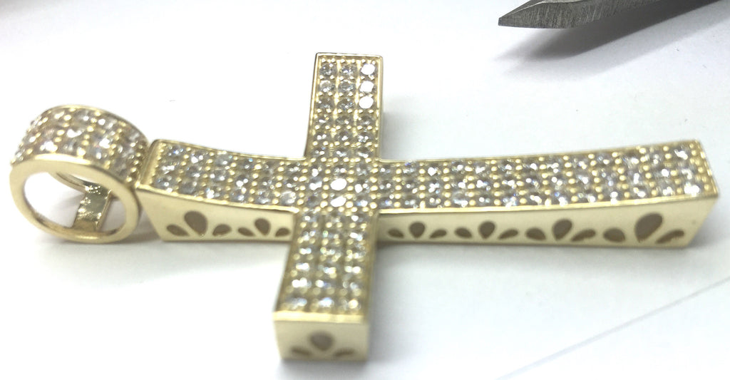 "10k Yellow Gold Cross Milania Pendant 2.385"" Height 1.349"" Length Men Pendant - Solid Gold Online"