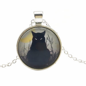 Beautiful Black Cat Pendant Necklace Glass Cabochon Silver Bronze Chain Necklace Cat Picture Vintage Necklace