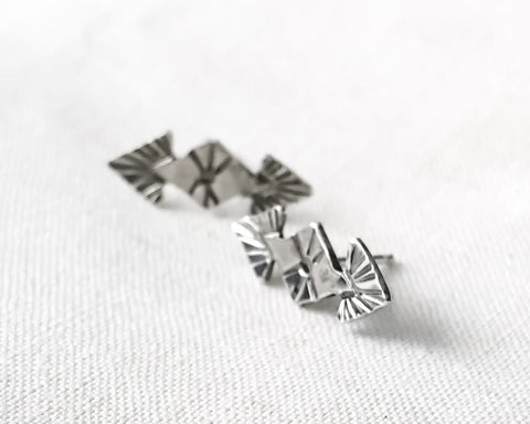 Aztec Double Arrow Stud Earrings // Sterling Silver