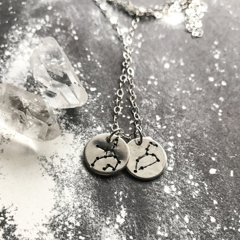 Lovers Zodiac Necklace // Sterling Silver