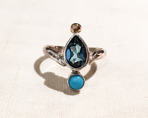 London Blue Topaz and 14k Gold Accent Ring // Size 4
