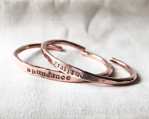 Affirmation Cuff // Hand Stamped Bracelet // Personalized in Solid Copper