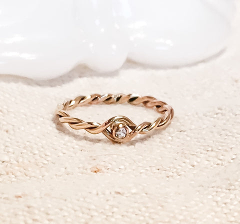 Nested Diamond Ring // Solid 14k Gold and Diamond Ring