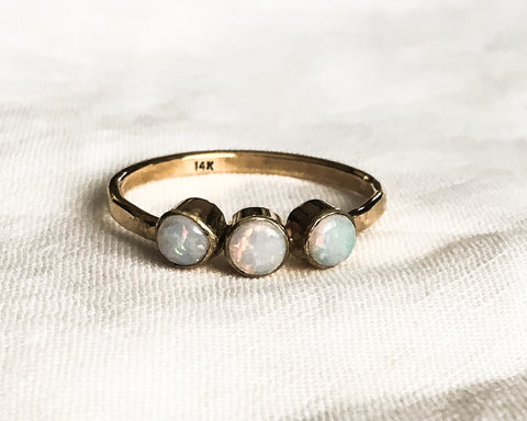 Ready to Ship in Size 9.25 // Triple Opal and Gold Ring // Solid 14k Gold and Opal