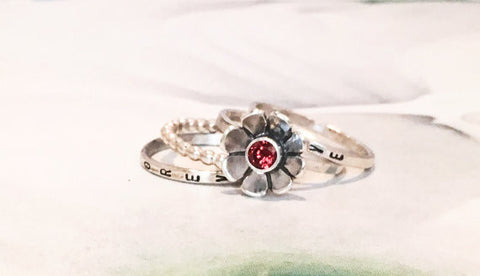 Flower Birthstone Ring Stacking Set // Choose Your Own Birthstone