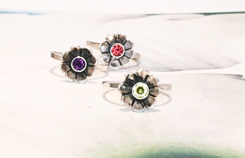 Flower Birthstone Ring // Choose Your Own Birthstone